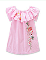 Girl's applique Floral A word shoulder Dress Cotton Polyester Summer Short Sleeve baby clothing