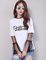 Women's Casual/Daily Simple T-shirt,Print Color Block Round Neck Long Sleeves Cotton Others