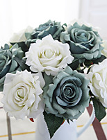 11inch Large Size 5 Heads Silk Polyester Roses Tabletop Flower Artificial Flowers