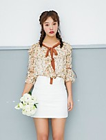 Women's Casual/Daily Sexy Blouse,Solid Floral V Neck Half Sleeves Cotton