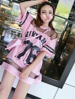 Damen Solide Druck Buchstabe Street Schick Lässig/Alltäglich T-shirt,Rundhalsausschnitt Halbe Ärmel Baumwolle