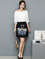 Women's Plus Size Soak Off Summer T-shirt Skirt Suits,Solid Round Neck Short Sleeve