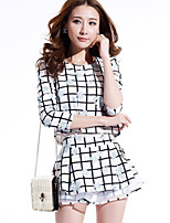 Women's Casual/Daily Simple Spring T-shirt Pant Suits,Plaid/Check Round Neck Long Sleeve