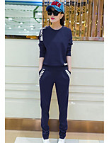 Women's Sports Simple Spring Fall T-shirt Pant Suits,Solid Round Neck Long Sleeve