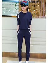 T-shirt Pantalone Completi abbigliamento Da donna Sport Semplice Primavera Autunno,Tinta unita Rotonda Manica lunga