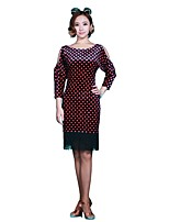 Latin Dance Dresses Women's Performance Flannel 1 Piece 3/4 Length Sleeve Dresses