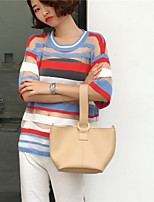 Women's Casual/Daily Simple T-shirt,Striped Round Neck Short Sleeves Others