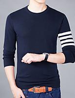 Men's Plus Size Casual Slim O-Neck Stripe 100% Cotton Pullover