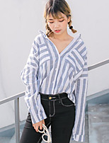 Women's Casual/Daily Simple Shirt,Striped Shirt Collar Long Sleeves Linen