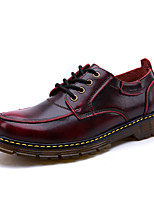 Men's Oxfords Comfort Leather Fall Winter Casual Lace-up Flat Heel Wine Brown Black Flat