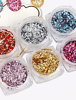 6PCS PINPAI Nail Art Foil Sequin Silver Glitter Gold Foil Color Nail Glitter Small Hexagon Nail Jewelry Nail Salon