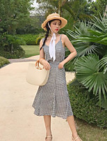 Women's Casual/Daily Simple Summer T-shirt Pant Suits,Plaid/Check Strap Sleeveless