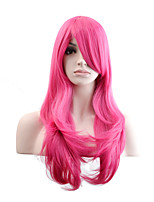 Donna Parrucche sintetiche Senza tappo Lungo Onda naturale Pink + Red Parrucca naturale costumi parrucche