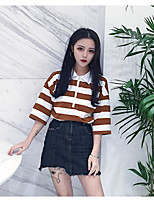 Women's Casual/Daily Simple T-shirt,Solid Striped Shirt Collar Half Sleeves Cotton