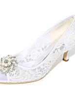 Femme Chaussures de mariage Escarpin Basique Printemps Eté Dentelle Tulle Mariage Soirée & Evénement Strass Perle Talon Aiguille Blanc