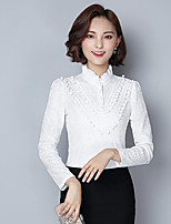 Women's Casual/Daily Simple Blouse,Solid Shirt Collar Long Sleeves Others