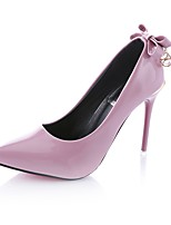 Women's Heels Light Soles PU Summer Dress Bowknot Stiletto Heel Blushing Pink Ruby Gray Black 3in-3 3/4in