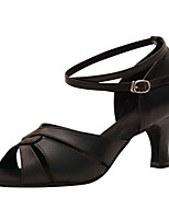 Women's Latin Faux Leather Sandals Performance Buckle Cuban Heel Black Gold 1