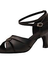 Femme Latines Faux Cuir Sandales Spectacle Boucle Talon Cubain Or Noir 2,5 à 4,4cm 5,1 à 7cm Personnalisables