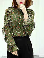 Women's Casual/Daily Simple Blouse,Print Round Neck Long Sleeves Others