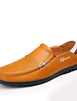 Men's Shoes Leather Spring Fall Moccasin Loafers & Slip-Ons For Casual Office & Career Brown Yellow Black