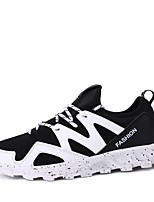 Men's Sneakers Comfort Fabric Summer Fall Casual Lace-up Flat Heel Black/Red Black/White Black Flat