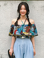 Women's Casual/Daily Simple Blouse,Floral Halter Sleeveless Others