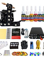 New Beginner 1 Pro  Tattoo Machine Kit Power Supply Needle Grips tip 7 color ink set TK105-40