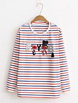 T-shirt Da donna Per uscire Casual Semplice Romantico Moda città Estate Autunno,Tinta unita A strisce Con stampe Rotonda CotoneManica