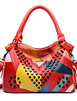 Women Bags All Seasons PU Tote Zipper for Casual Office & Career Black Red