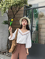 Damen Geometrisch Einfach Lässig/Alltäglich T-shirt,V-Ausschnitt 3/4 Ärmel Baumwolle