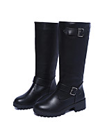 Women's Boots Comfort Winter PU Casual Buckle Low Heel Brown Black Under 1in