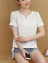 Для женщин На каждый день Блуза V-образный вырез,Простое Однотонный С короткими рукавами,Другое