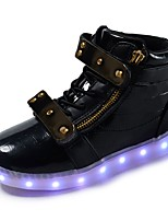 Girls' Shoes Knit Paillette Leatherette Fall Winter Light Up Shoes First Walkers Light Soles Sneakers Walking Shoes Sequin Buckle Magic