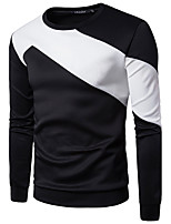 Men's Going out Casual/Daily Simple Sweatshirt Color Block Round Neck Inelastic Cotton Long Sleeve Fall Winter