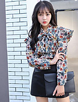 Women's Casual/Daily Sexy Blouse,Floral Print Round Neck Long Sleeves Cotton