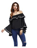 Tee-shirt Femme,Couleur Pleine Sortie Sexy Manches 3/4 Bateau Coton