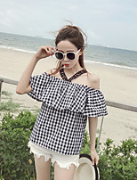 Women's Casual/Daily Simple Shirt,Print Halter Short Sleeves Others