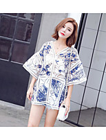 Women's Going out Simple Blouse,Solid Print V Neck Half Sleeves Cotton