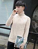 Men's Going out Casual/Daily Simple Regular Pullover,Solid Shirt Collar Long Sleeves Cotton Rayon Fall Winter Thick Micro-elastic