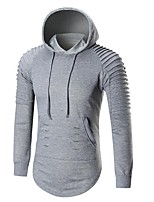 Men's Casual/Daily Simple Hoodie Solid Hooded Micro-elastic Cotton Polyester Long Sleeve Fall