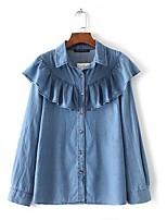 Camicia Da donna Per uscire Casual Semplice Moda città Primavera Autunno,Tinta unita Colletto Cotone Poliestere Manica lungaSottile Medio