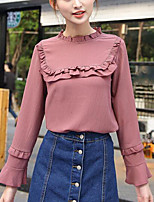 Women's Casual/Daily Simple Blouse,Solid Round Neck Long Sleeves Polyester Others