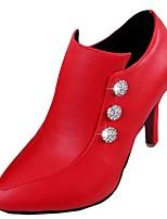 Damen High Heels Komfort Herbst PU Kleid Strass Stöckelabsatz Schwarz Beige Rot 7,5 - 9,5 cm