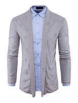 Men's Going out Casual/Daily Sexy Simple Long Cardigan,Solid Shirt Collar Long Sleeves Cotton Spring Fall Medium Stretchy