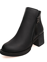 Women's Boots Comfort PU Spring Fall Casual Zipper Low Heel Ruby Black Under 1in