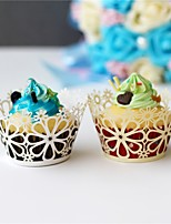 50pcs/lot Big Flower Laser Cut Cupcake Wrappers Wedding Party Birthday Baby Shower Decoration.