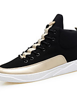 Men's Sneakers Comfort Summer Fall Tulle Casual Outdoor Flat Heel Orange/Black Black/Gold Black