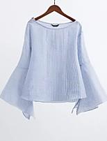 Damen Gestreift Einfach Street Schick Ausgehen Lässig/Alltäglich T-shirt,Rundhalsausschnitt Frühling Herbst Langarm Baumwolle AndereDünn