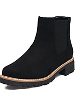 Women's Boots Comfort Leatherette Fall Winter Casual Dress Gore Split Joint Chunky Heel Gray Black 1in-1 3/4in
